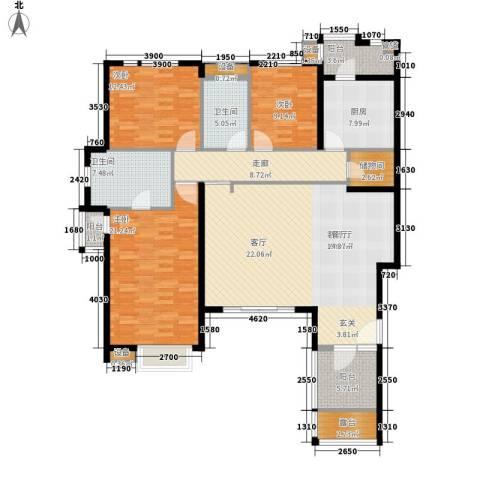 万科劲嘉金域华府3室1厅2卫1厨184.00㎡户型图