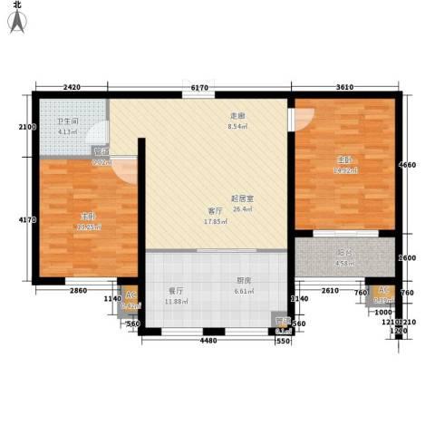 润生园2室1厅1卫0厨85.00㎡户型图