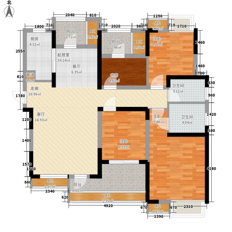 保利时代135.00㎡B户型4室2厅
