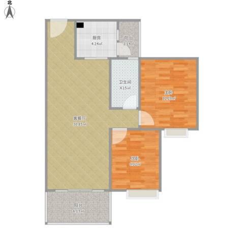 龙翔花园2室1厅1卫1厨94.00㎡户型图