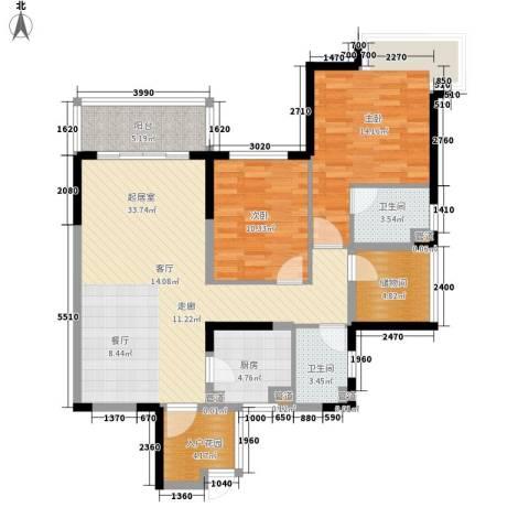 世家城南一号2室0厅2卫1厨99.00㎡户型图