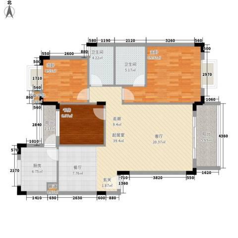 青麓雅园3室0厅2卫1厨135.00㎡户型图