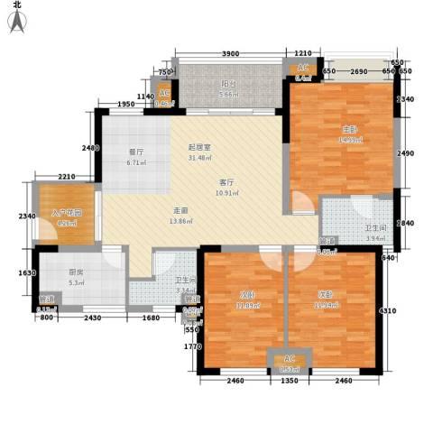 世家城南一号3室0厅2卫1厨114.00㎡户型图