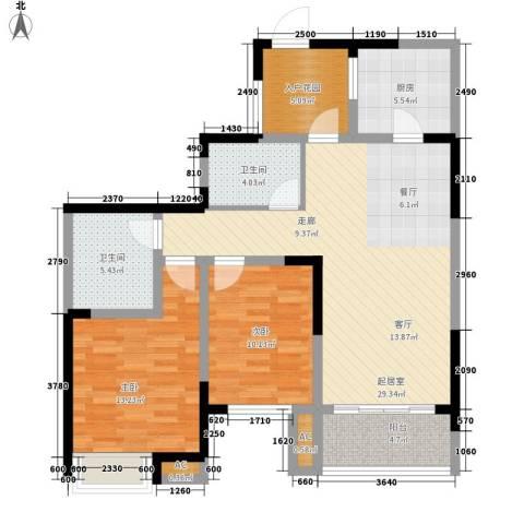 世家城南一号2室0厅2卫1厨88.00㎡户型图