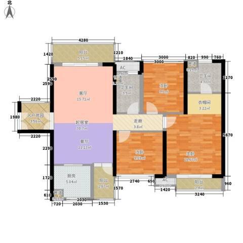中航天逸3室0厅2卫1厨118.00㎡户型图