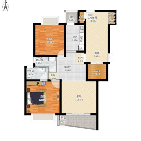 香榭水岸四期公寓2室1厅2卫1厨150.00㎡户型图