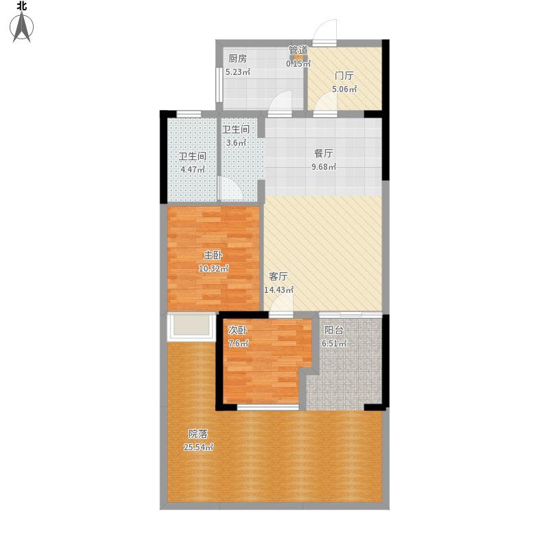 当代卡梅尔小镇户型图G户型2室面积86.78㎡