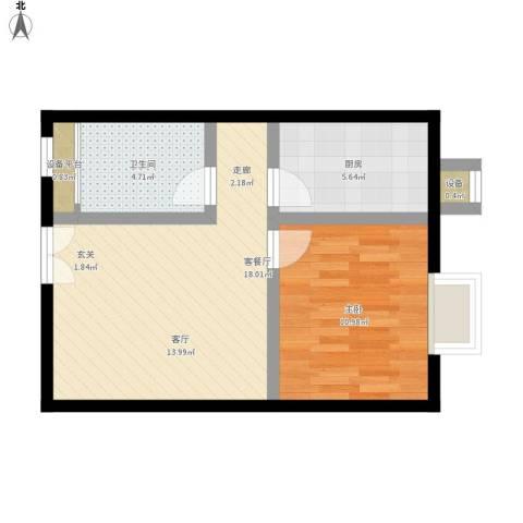 城市亮点1室1厅1卫1厨60.00㎡户型图