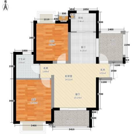 湘江世纪城2室0厅1卫1厨88.00㎡户型图