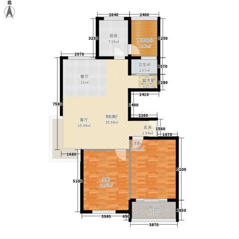 江阴外滩名门2室1厅1卫1厨115.00㎡户型图