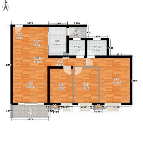 德盈华庭3室1厅2卫1厨128.00㎡户型图