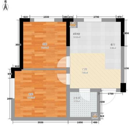 西城国际2室0厅1卫0厨49.16㎡户型图