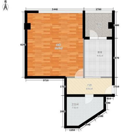 东壹号1室0厅1卫1厨67.00㎡户型图