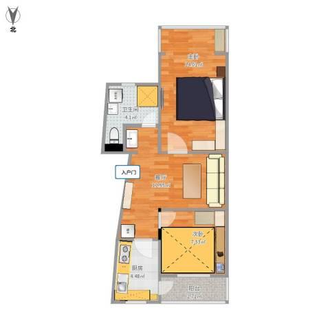 海特花园2室1厅1卫1厨63.00㎡户型图