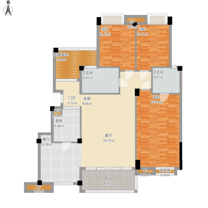 当代东湖壹号9-11号楼花园洋房F4户型143.84㎡