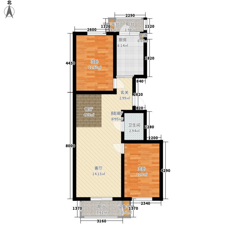 鸿景兴园77.67㎡鸿景兴园户型图2室2厅1卫1厨户型10室