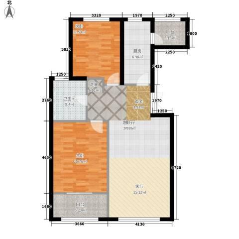 山景御园2室1厅1卫1厨92.00㎡户型图