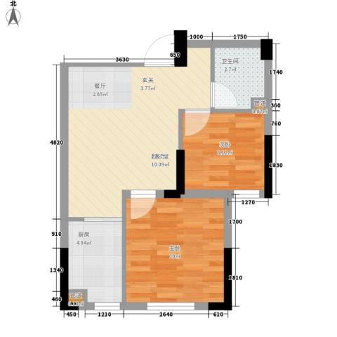 西城国际2室0厅1卫1厨45.45㎡户型图