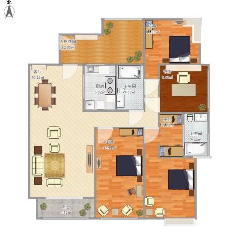 保利花园二期4室1厅2卫1厨175.00㎡户型图