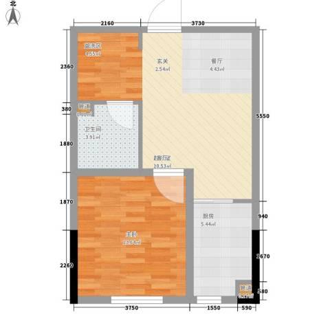 西城国际1室0厅1卫1厨51.50㎡户型图