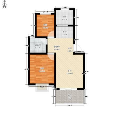 前城御澜湾2室1厅1卫1厨74.00㎡户型图
