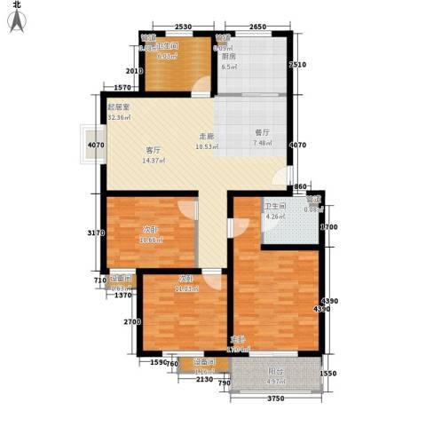 碧波庄园3室0厅2卫1厨106.00㎡户型图