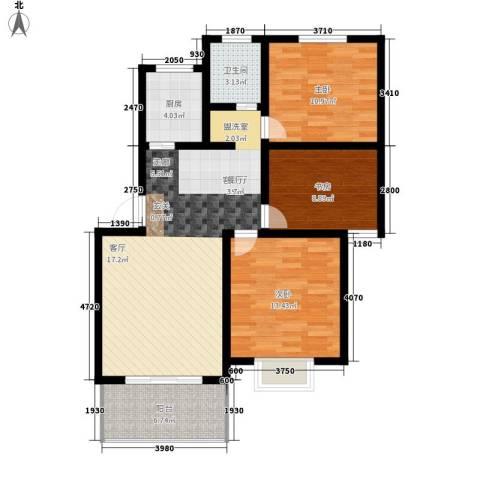前城御澜湾3室1厅1卫1厨87.00㎡户型图
