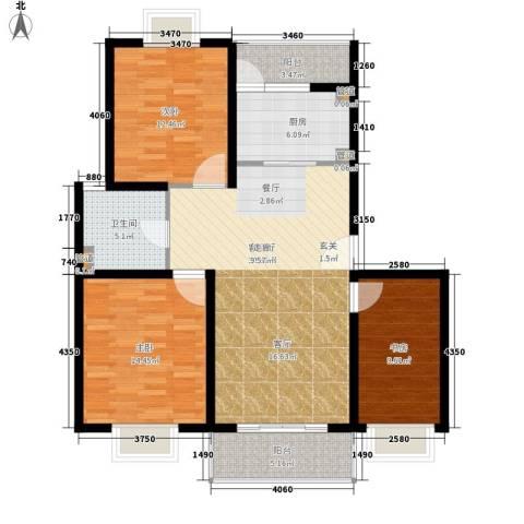 多摩远景3室1厅1卫1厨100.00㎡户型图