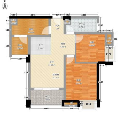 世家城南一号2室0厅1卫1厨81.00㎡户型图