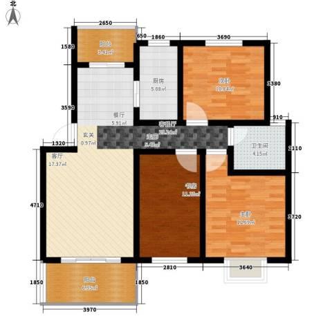 前城御澜湾3室1厅1卫1厨96.00㎡户型图