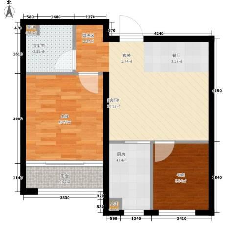 西城国际2室0厅1卫1厨52.36㎡户型图