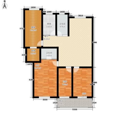 东昌公寓3室1厅2卫1厨124.00㎡户型图