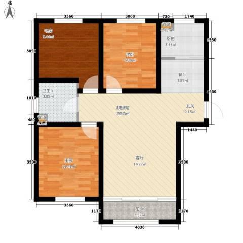 西城国际3室0厅1卫1厨80.94㎡户型图