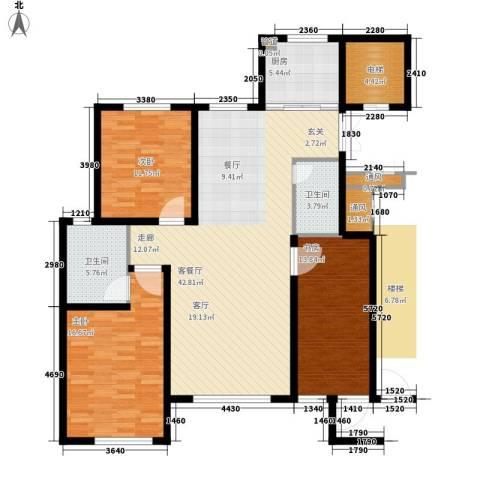 亨林名都3室1厅2卫1厨121.00㎡户型图