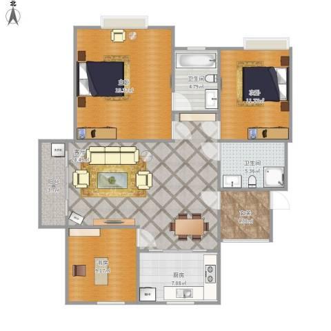美满锦园3室1厅2卫1厨126.00㎡户型图