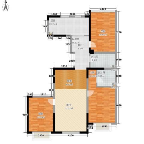 金地花园3室0厅2卫1厨148.00㎡户型图