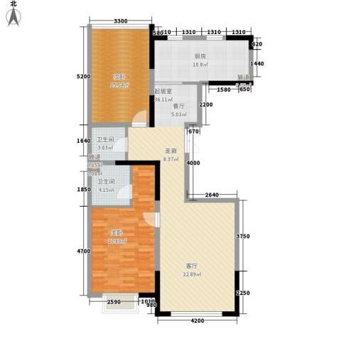 金地花园2室0厅2卫1厨124.00㎡户型图