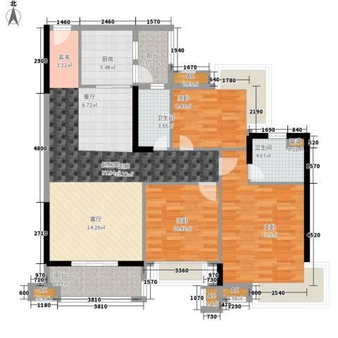 清远奥园3室0厅2卫1厨117.00㎡户型图