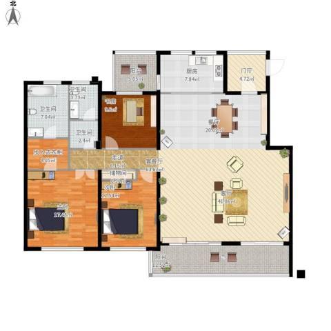 协信阿卡迪亚3室1厅3卫1厨207.00㎡户型图