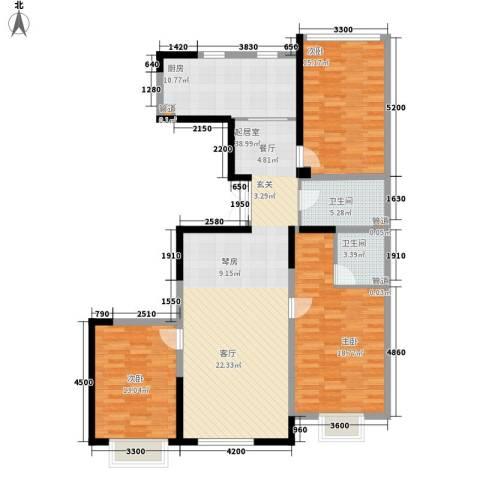 金地花园3室0厅2卫1厨149.00㎡户型图