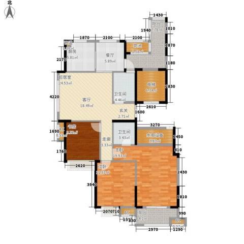 大成国际领域3室1厅2卫1厨129.00㎡户型图