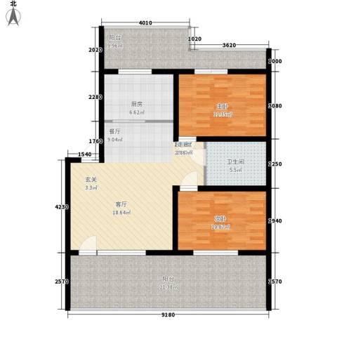 新嘉坡城B区2室0厅1卫1厨92.90㎡户型图