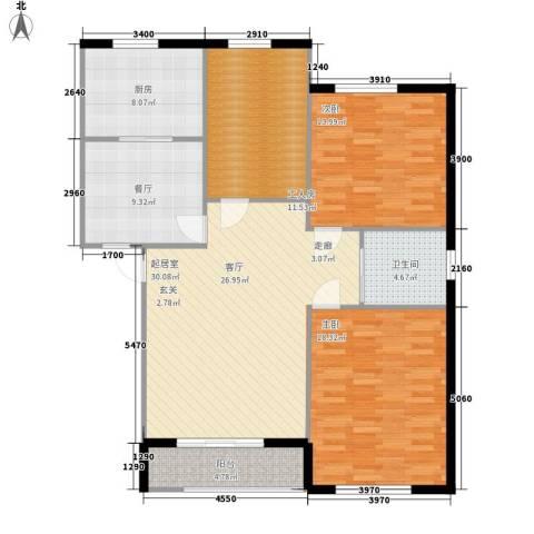 新嘉坡城B区2室1厅1卫1厨138.00㎡户型图