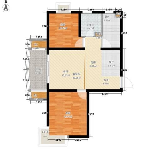 亚东观云国际公寓2室1厅1卫1厨93.00㎡户型图