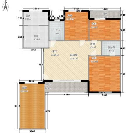 新嘉坡城B区3室1厅2卫1厨143.58㎡户型图