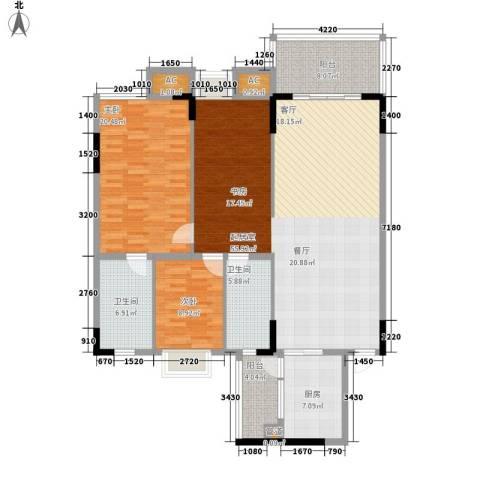 金美花园泓景峰2室0厅2卫1厨136.00㎡户型图