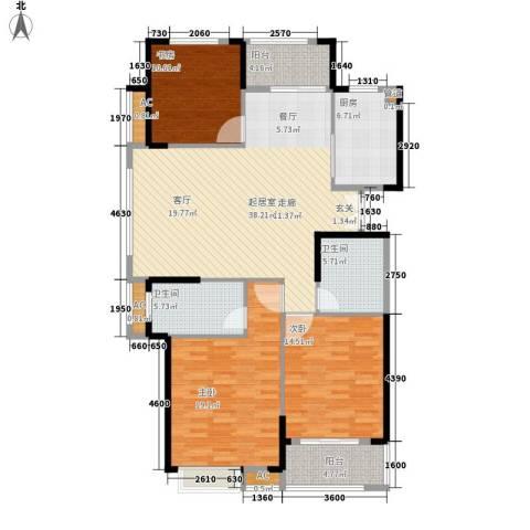 大成国际领域3室0厅2卫1厨128.00㎡户型图