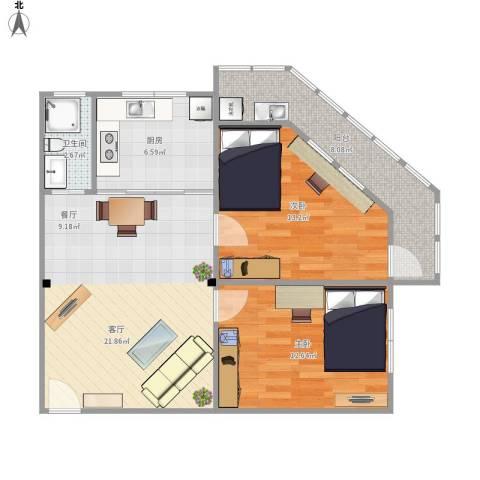 风采里2室1厅1卫1厨88.00㎡户型图