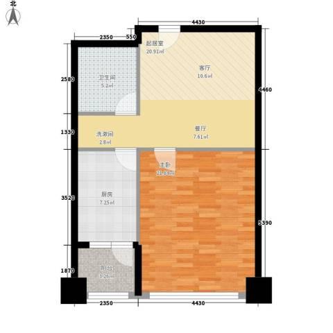 东壹号1室0厅1卫1厨63.00㎡户型图