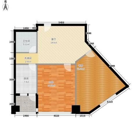 东壹号2室1厅1卫1厨96.00㎡户型图